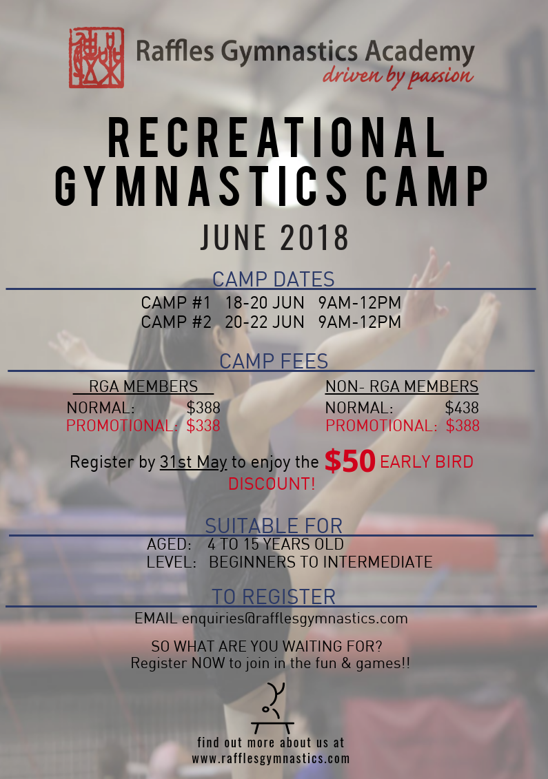 Raffles Gymnastics Academy Recreational Gymnastics Camp June 2018